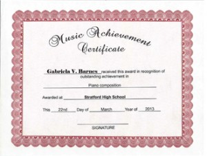 Create Music Achievement Award certificate template with ClicknPrint