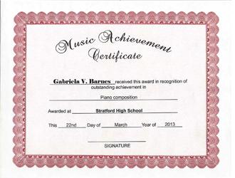 create music achievement award certificate template with clicknprint