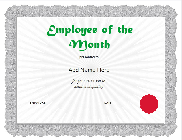 Use IClicknPrint To Create Empoyee Of The Month Certificate Template.  Business Certificates Templates