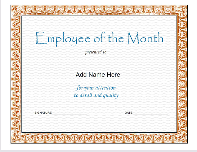 ... Photo Landscape 1024x791 Employee of The Month Certificate Template