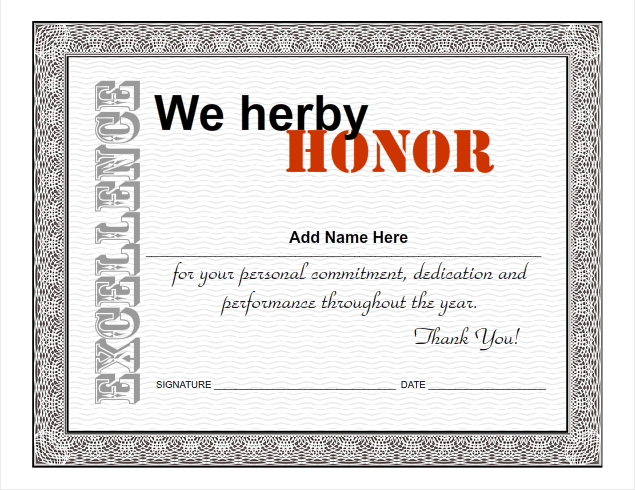 Employee Certificates Use iClicknPrint Certificate Templates – Certificate of Excellence Wording