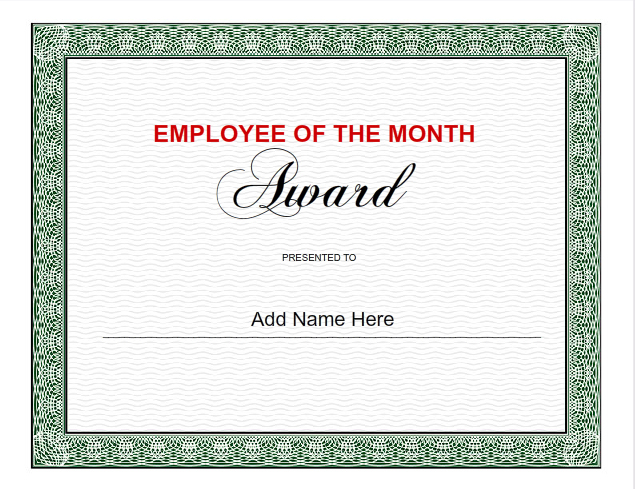 ... Templates to design Employee of the Month Certificate Template
