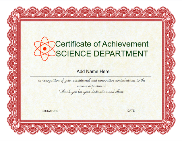 Use IClicknPrint To Create Certificate Of Achievement Science Department Certificate  Template ...  Baby Certificate Maker