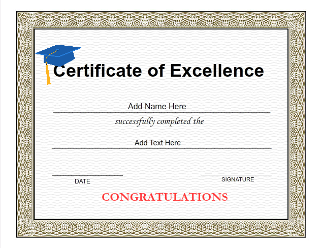 Graduation certificate templates customize with iclicknprint use iclicknprint certificate templates to create certificate of excellence yelopaper Gallery